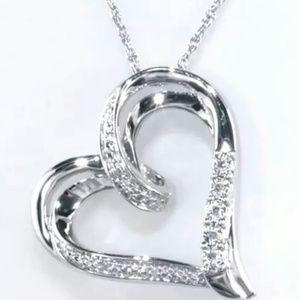 Zales Diamond Titled Heart Necklace
